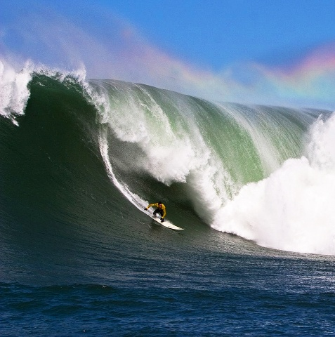Greg Long is seen surfing Mavericks in 2005. / Frank Quirarte Photography